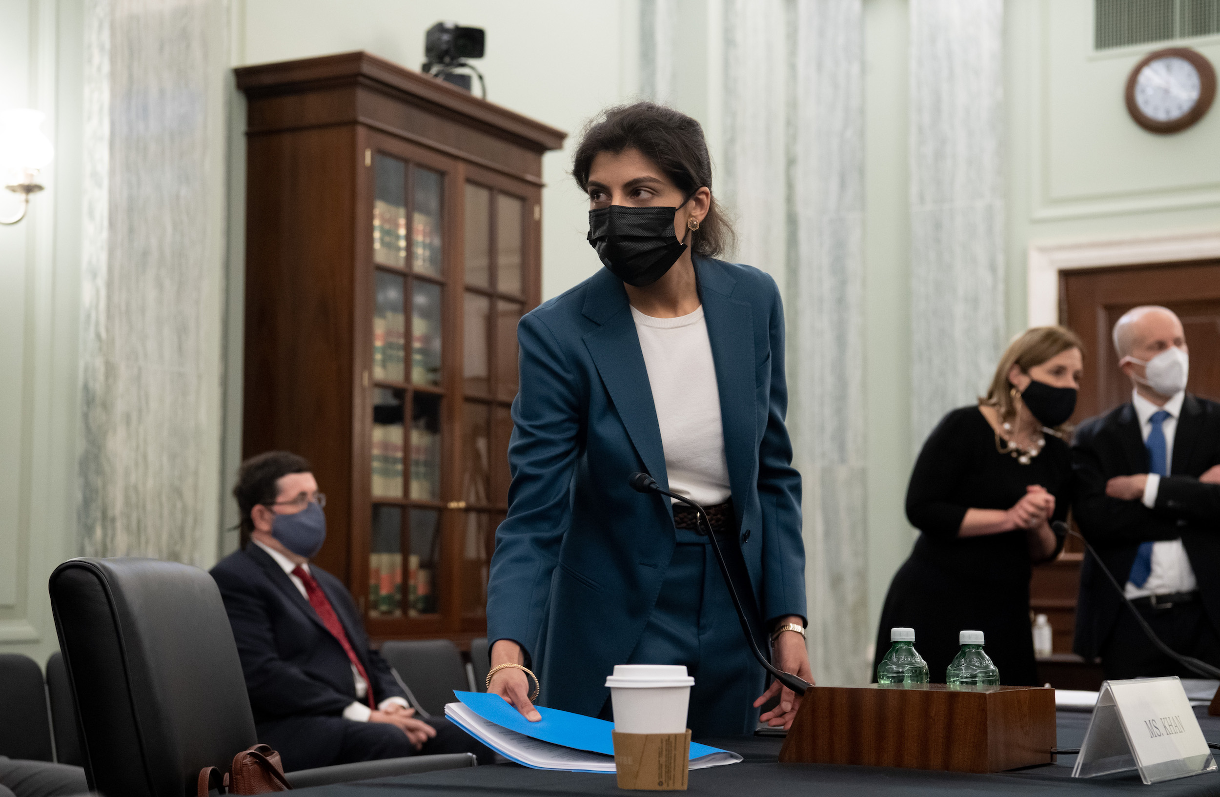 WASHINGTON, DC - APRIL 21: Lina Khan, nominee for Commissioner of the Federal Trade Commission (FTC), arrives at at a Senate Committee on Commerce, Science, and Transportation confirmation hearing on Capitol Hill on April 21, 2021 in Washington, DC. Khan is an Associate Professor at Columbia Law School. (Photo by Saul Loeb-Pool/Getty Images)