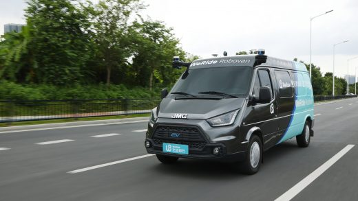 WeRide's Robovan, an autonomous vehicle designed for urban logistics. WeRide has partnered with automaker Jiangling Motors and delivery firm ZTO Express, for the Robovan project.