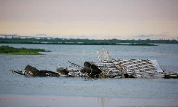 The remains of an exploded SpaceX Starship on land in Boca Chica, Texas in May. Photograph: Reginald Mathalone/NurPhoto/REX/Shutterstock