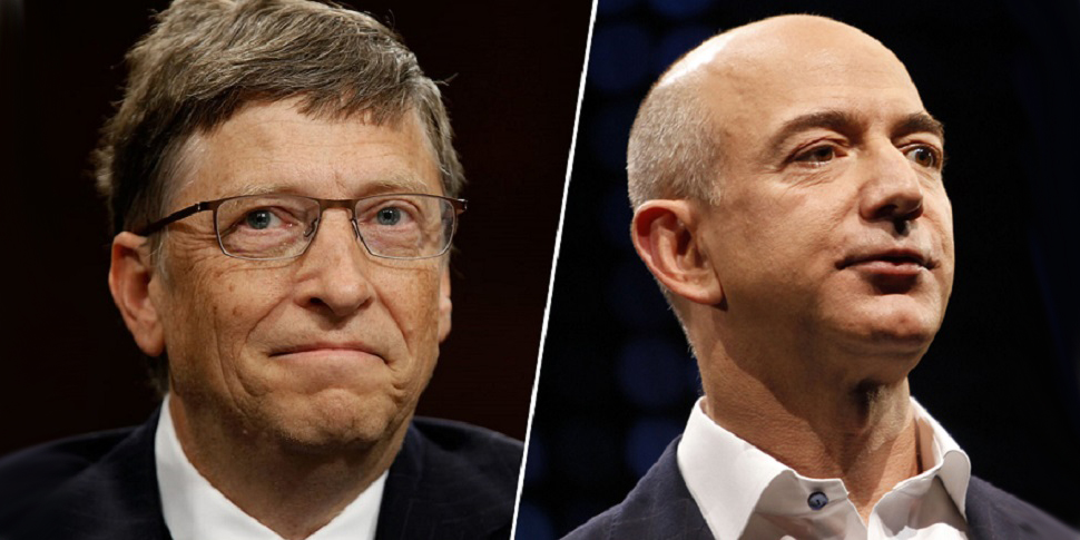 Bill Gates and Jeff Bezos Teslas