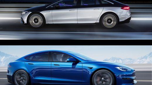 The Tesla Model S (above) and Mercedes-Benz EQS. Tesla; Mercedes-Benz