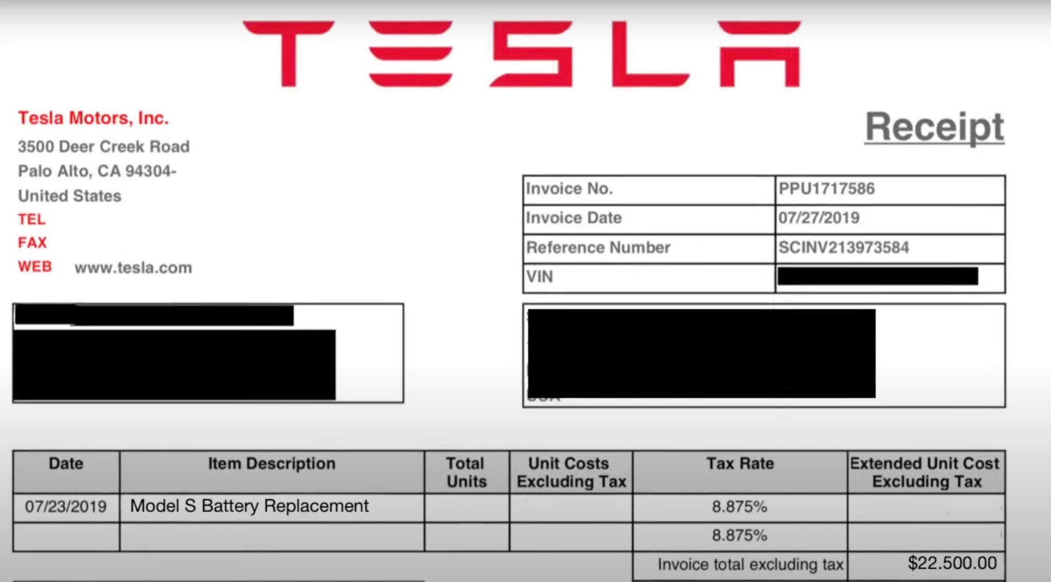 Tesla battery pack replacement bill