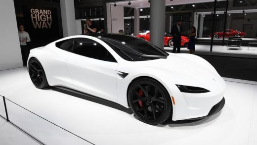 THE NEXT-GENERATION TESLA ROADSTER AT THE GRAND BASEL AUTO SHOW.