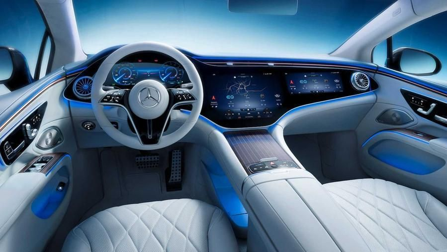 An interior view of the new Mercedes-Benz All-Electric EQS Sedan. From the middle of this decade the systems used to build all Mercedes autos will switch over to producing electric models © Dimitrios Kambouris/Getty Images for Mercedes-Benz