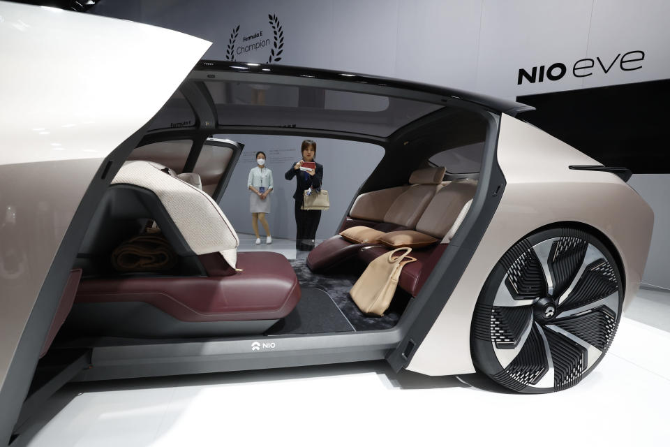 The NIO eve concept car displayed during the Shanghai Auto Show in April © Ng Han Guan/AP