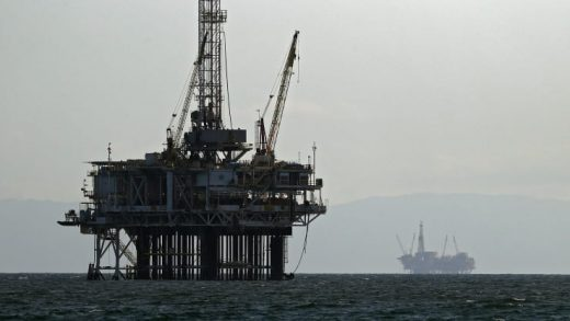 Offshore oil platforms are seen on April 20, 2020 in Huntington Beach, California. Oil prices traded in negative territory for the first time as the spread of coronavirus (COVID-19) impacts demand.