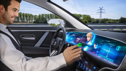 A video call on the Continental 3D dashboard display