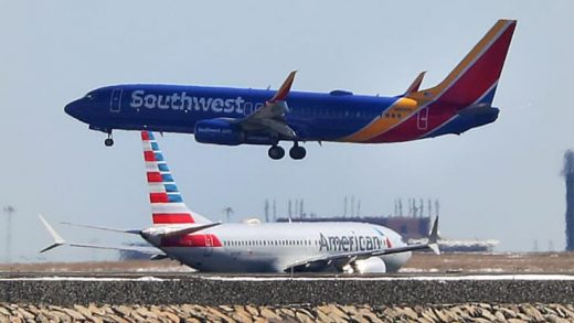 Southwest Airlines flight 1117 from St. Louis lands at Boston Logan International Airport on March 13, 2019. (Photo by John Tlumacki/The Boston Globe via Getty Images)