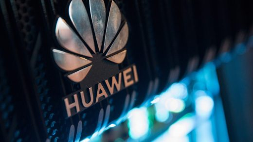 A logo is pictured on a Huawei NetEngine 8000 Intelligent Metro Router during a 5G event in London, on February 20, 2020.