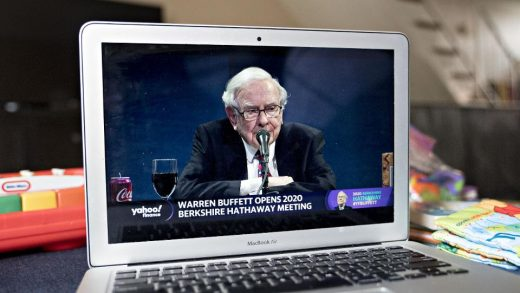 Warren Buffett, chairman and chief executive officer of Berkshire Hathaway Inc., speaks during the virtual Berkshire Hathaway annual shareholders meeting seen on a laptop computer in Arlington, Virginia, U.S., on Saturday, May 2, 2020.