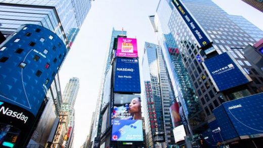 A view of Nasdaq in Times Square hours ahead of the implementation of 'New York State on PAUSE' executive order as the coronavirus continues to spread across the United States on March 22, 2020 in New York City.