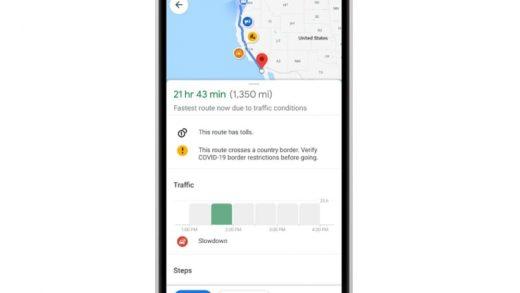 A sample Covid-19 alert on Google Maps.