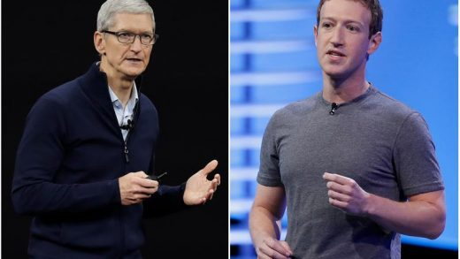Apple CEO Tim Cook (l) and Mark Zuckerberg, CEO and founder of Facebook.