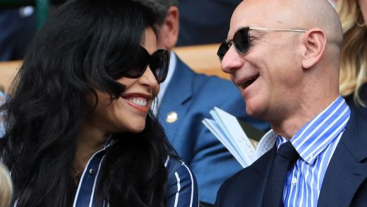 Amazon CEO Jeff Bezos with Lauren Sanchez in January this year. AP