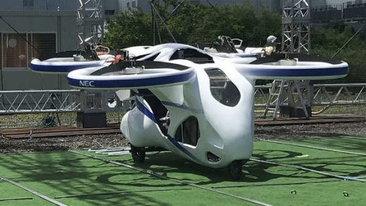 """This photo taken at the beginning of August, 2020 and released by ©SkyDrive/CARTIVATOR 2020, shows a test flight of a manned '""""flying car"""" at Toyota Test Field in Toyota, central Japan. Japan's SkyDrive Inc., among the myriads of """"flying car"""" projects around the world, has carried out a"""