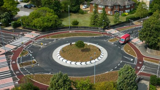 """The U.K.'s first """"Dutch-style"""" roundabout, in Cambridge, prioritizes cyclists and pedestrians over motorists.Joe Giddens 
