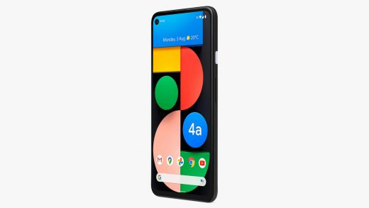 The device shown has a rear-mounted fingerprint sensor, just like the Pixel 4A, and there's a headphone-jack shaped cutout visible on its top. Image: John Lewis