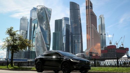 FILE PHOTO: A Tesla Model X electric vehicle is shown in this picture illustration taken in Moscow, Russia July 23, 2020. REUTERS/Evgenia Novozhenina/File Photo