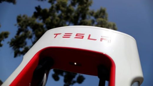 FILE PHOTO: A Tesla SuperCharger station is seen in Los Angeles, California, U.S., July 9, 2020. REUTERS/Lucy Nicholson/File Photo