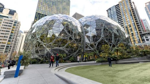 The Amazon headquarters sits virtually empty on March 10, 2020 in downtown Seattle, Washington. In response to the coronavirus outbreak, Amazon recommended all employees in its Seattle office to work from home, leaving much of downtown nearly void of people. John Moore | Getty Images