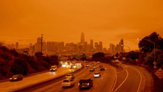 SAN FRANCISCO, USA - SEPTEMBER 09: A view of a layer of smoke generated by the over 2 dozen wildfires burning in California created and eerie orange glow over mush of the San Francisco Bay Area, California, United States on September 09, 2020. Fortunately a marine layer kept the smoke well above the ground improving air quality in the area. (Photo by Burak Arik/Anadolu Agency via Getty Images)