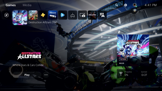 The new PlayStation 5 home screen.