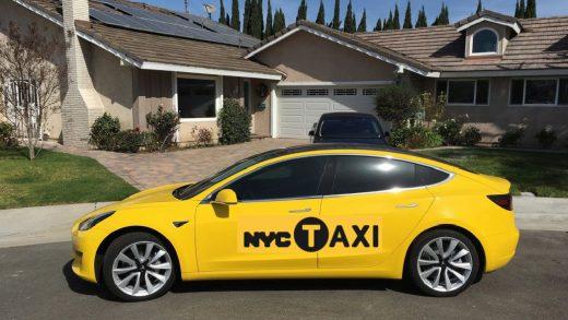 New York Tesla Model 3 Taxi Nissan Leaf