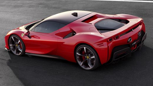The SF90 Stradale uses a V8 engine and three electric motors to generate 986 hp and can drive up to 15.5 miles on battery power alone. (Ferrari)