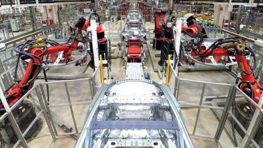 Tesla Model 3 production line in Gigafactory 3, Shanghai, China. (Credit: Tesla)