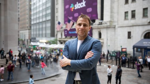 Stewart Butterfield, chief executive officer of Slack Technologies, Inc., stands for a photograph outside of the New York Stock Exchange (NYSE) during the company's initial public offering (IPO) in New York, U.S., on Thursday, June 20, 2019. Following in the footsteps of music-streaming serviceSpotify Technology SAlast year, the workplace messaging application is set to start trading on the New York Stock Exchange Thursday via a direct listing. Photographer: Michael Nagle/Bloomberg