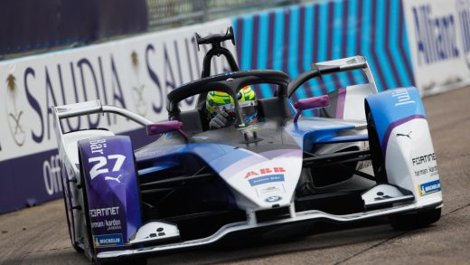 Jake Dennis drives the no. 27 BMW i Andretti Motorsport Formula E racecar. Photographer: Andreas Beil/BMW AG