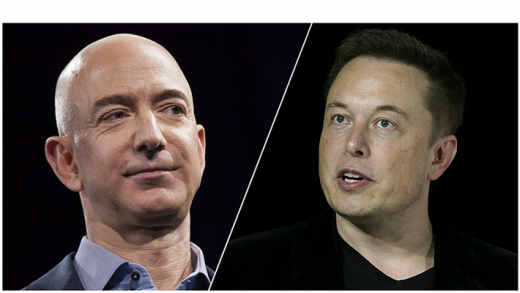 Jeff Bezos' Elon Musk's SpaceX CEO Amazon Starlink