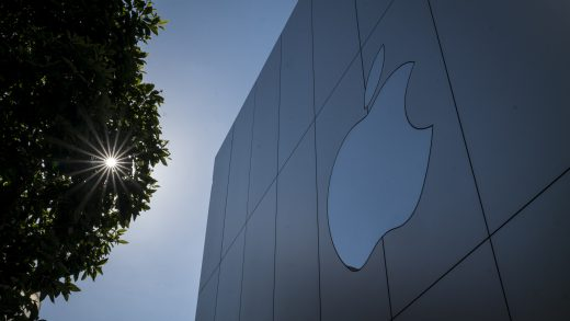 The Apple Inc logo at a store in San Francisco, California, U.S., on Friday, Oct. 23, 2020. The iPhone 12 and iPhone 12 Pro went on sale in stores, but with individual shopping sessions replacing the famous lines and crowds around locations. Photographer: David Paul Morris/Bloomberg via Getty Images