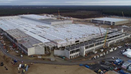 Tesla's factory near Berlin under construction in this photo from the company's Q4 2020 earnings report, released Jan 27, 2021. Tesla