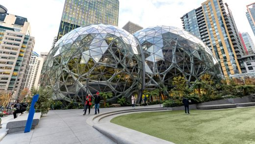 The Amazon headquarters sits virtually empty on March 10, 2020 in downtown Seattle, Washington. In response to the coronavirus outbreak, Amazon recommended all employees in its Seattle office to work from home, leaving much of downtown nearly void of people.John Moore | Getty Images