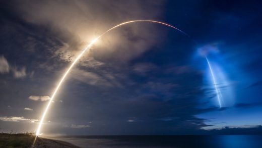 A SpaceX Falcon 9 rocket carrying 58 satellites for SpaceX's Starlink broadband internet network launches on Aug.18. Photographer: Paul Hennessy/NurPhoto/Getty Images