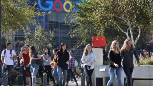 Google employees walk out of work at company headquarters in Mountain View, Calif., Thursday, Nov. 1, 2018, protesting the technology giant's actions on sexual misconduct. (Karl Mondon/Bay Area News Group)
