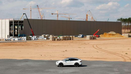 Musk touring the site in his white Tesla car. Photograph: Odd Andersen/AFP/Getty Images