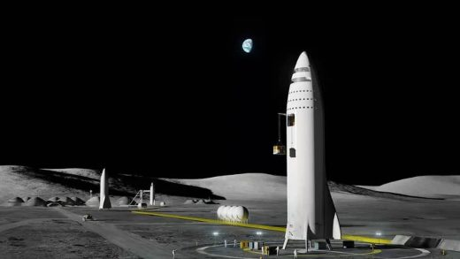 Pictured on the left, SpaceX's lunar Starship is a customized version of the baseline ship meant to land NASA astronauts on the Moon. (SpaceX)