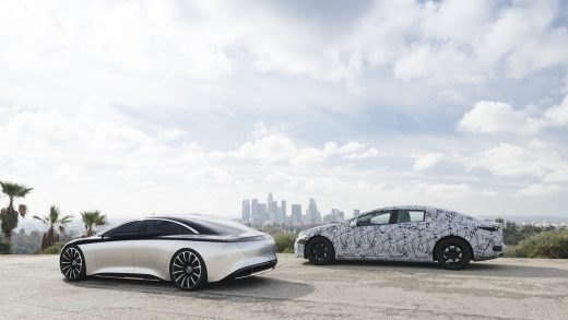 The EQS, shown here, is pictured in road tests. Its battery range will exceed that of the Long Range version of the Tesla Model S.