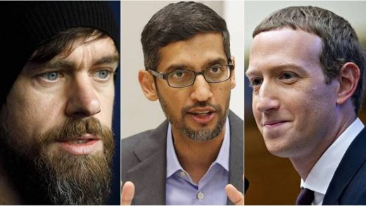 Combination of Mark Zuckerberg, CEO of Facebook, Jack Dorsey, CEO of Twitter and Sundar Pichai, CEO of Google.
