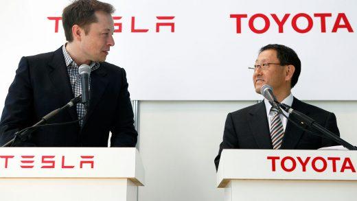 Tesla chief Elon Musk and Toyota boss Akio Toyoda