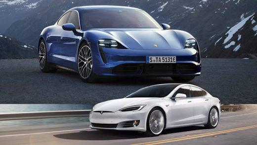 Tesla Model S and Porsche Taycan