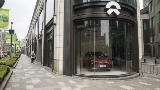 Logo of the electric vehicle maker NIO is seen at its store in Beijin