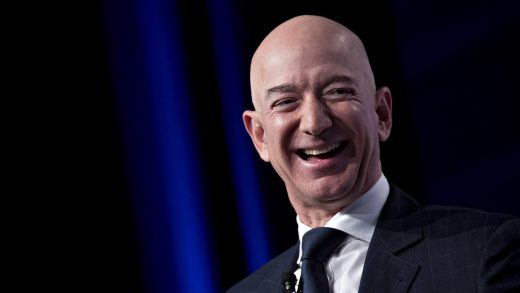 Jeff Bezos, founder and chief executive officer of Amazon.com Inc., laughs during a discussion at the Air Force Association's Air, Space and Cyber Conference in National Harbor, Maryland, U.S., on Wednesday, Sept. 19, 2018. Amazon is considering a plan to open as many as 3,000 new AmazonGo cashierless stores in the next few years, according to people familiar with matter, an aggressive and costly expansion that would threaten convenience chains. Photographer: Andrew Harrer/Bloomberg