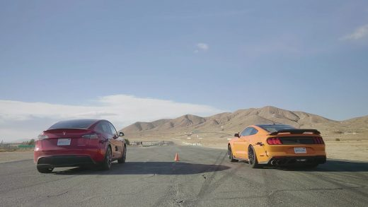 Tesla Model Y and Ford Shelby GT500