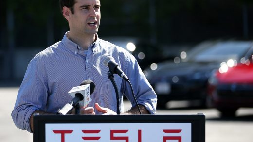 FREMONT, CA - AUGUST 16: JB Straubel, Tesla Motors chief technical officer, speaks during a ribbon cutting for a new Supercharger station outside of the Tesla Factory on August 16, 2013 in Fremont, California. Tesla Motors opened a new Supercharger station with four stalls for public use at their factory in Fremont, California. The Superchargers allow owners of the Tesla Model S to charge their vehicles in 20 to 30 minutes for free. There are now 18 charging stations in the U.S. with plans to open more in the near future. (Photo by Justin Sullivan/Getty Images)