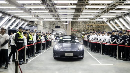 A Tesla Inc. Model 3 vehicle set to be delivered to a company employee moves off an assembly line during a ceremony at the company's Gigafactory in Shanghai, China, on Monday, Dec. 30, 2019. Tesla delivered its first China-built cars today, a milestone forElon Musk's company as it accelerates a push in the world's largest electric-vehicle market. Photographer: Qilai Shen/Bloomberg via Getty Images
