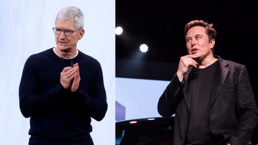 CEO Tesla Elon Musk and Apple CEO Tim Cook