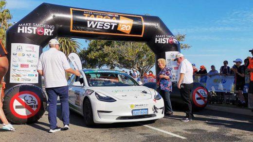Tesla Model 3 Targa West road rally